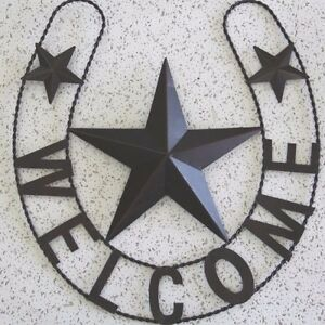 Image Is Loading WELCOME HORSESHOE STAR BARN METAL ART RUSTIC BRONZE