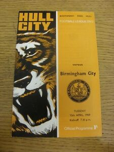 15-04-1969-Hull-City-v-Birmingham-City-Faint-Fold-Neat-Team-Changes-Thanks