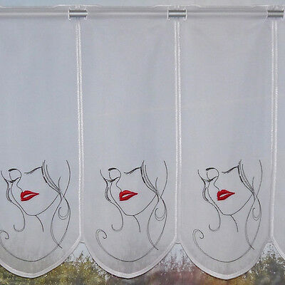 Scheibengardine Kurzgardine Bistrogardine Küchengardine 2276 45x150 cm Weiß Rosa