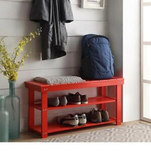 Superb Details About Wood Mudroom Bench Utility Shoe Storage Red Entry Hallway Entryway Foyer Rack Machost Co Dining Chair Design Ideas Machostcouk
