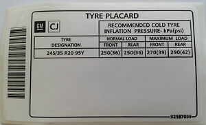 Holden-Commodore-20-034-Tyre-Placard-Label-Decal-VE-VY-VZ-SS-LS1-LS2-LS3-WL-L76-L98