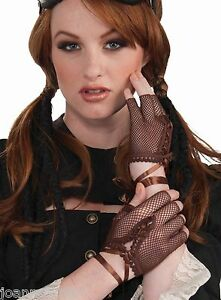 New-Womens-Ladies-Steampunk-Brown-Fingerless-Gloves-Gothic-Fancy-Dress-Accessory