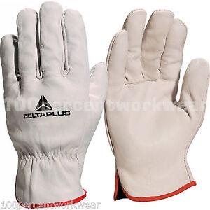 Delta-Plus-FBN49-Cow-Hide-Leather-Work-Gloves-Fork-Lift-Truck-Machine-Builders