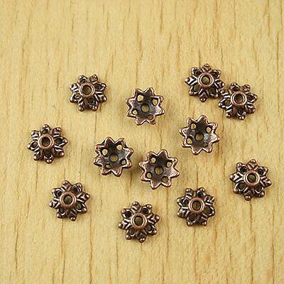100pcs copper tone flower beads CAPS H1944