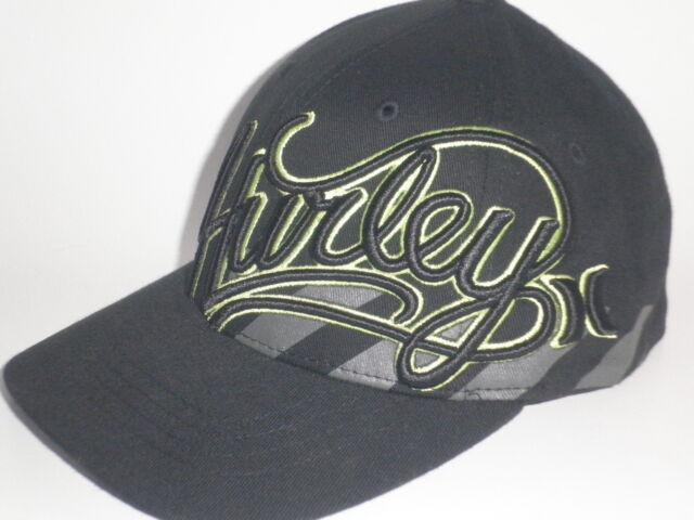 Youth Hurley MIDORI Hat Black Lime Green OSFA ( 25) NEW Flex Boys Kids Cap 038315cbfc4