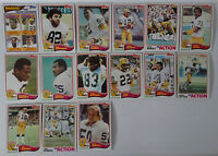 1982 Topps Green Bay Packers Team Set of 15 Football Cards