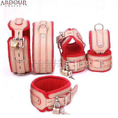 Genuine Cow Hide Leather Wrist Ankle Cuffs and Neck Collar Set with Hogtie 6 Pieces set