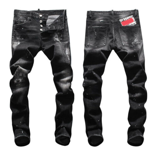 New Mens Italy Pop Style Ripped Pants Oil Print Black Jeans Slim Trousers D8037T