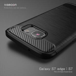 DE-LUJO-Antigolpes-Duro-Fibra-De-Carbono-Trasero-Funda-para-Samsung-Galaxy