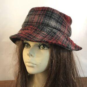 Eddie Bauer Bucket Boonie Style Plaid Wool Blend Hat Womens One Size ... ee7c70a503
