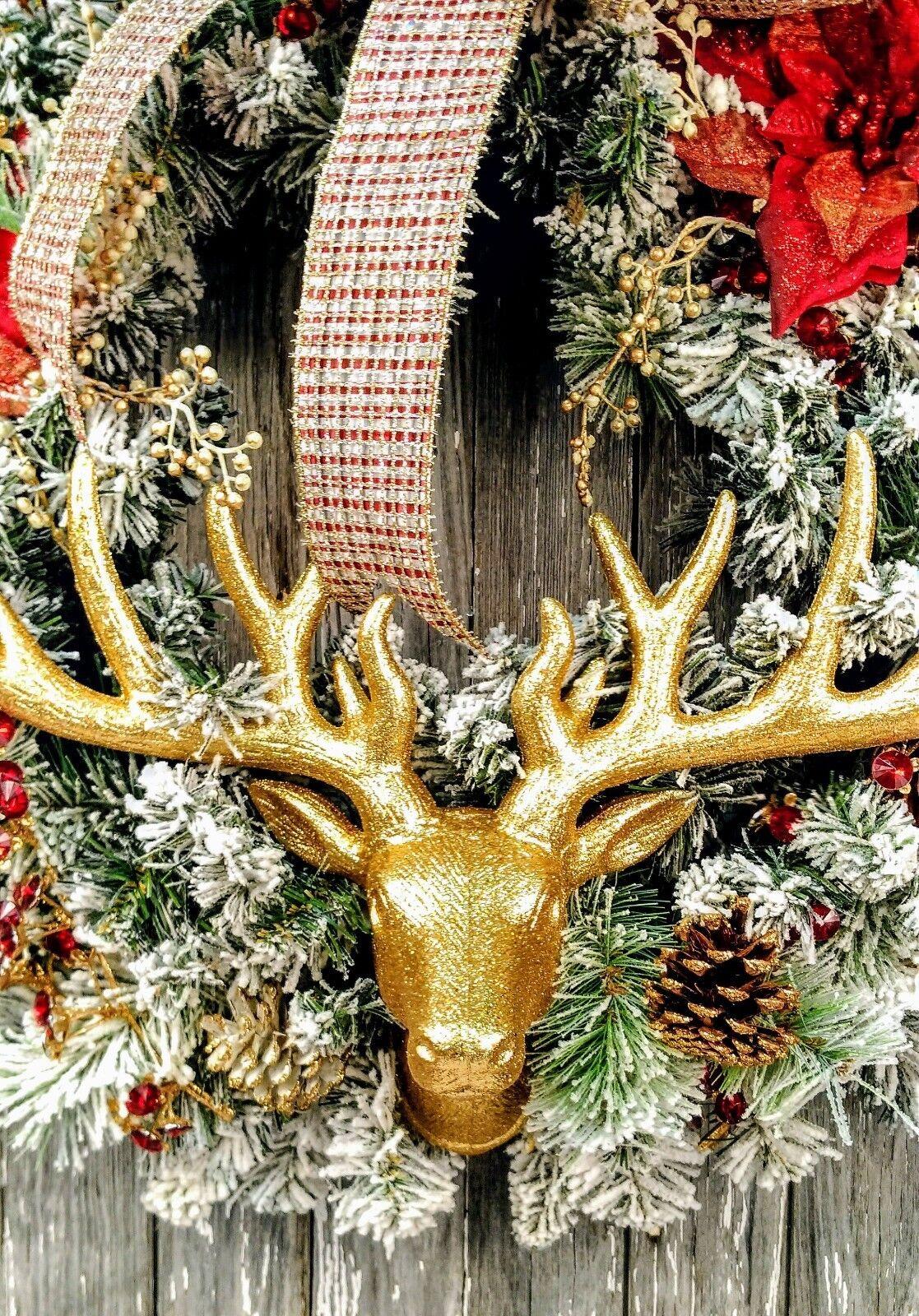 Gold Glitter Deer Head Wall Mount By Raz Christmas 3751013 New