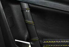 YELLOW STITCH 2X REAR DOOR HANDLE SKIN COVERS FITS VAUXHALL OPEL VECTRA C SIGNUM