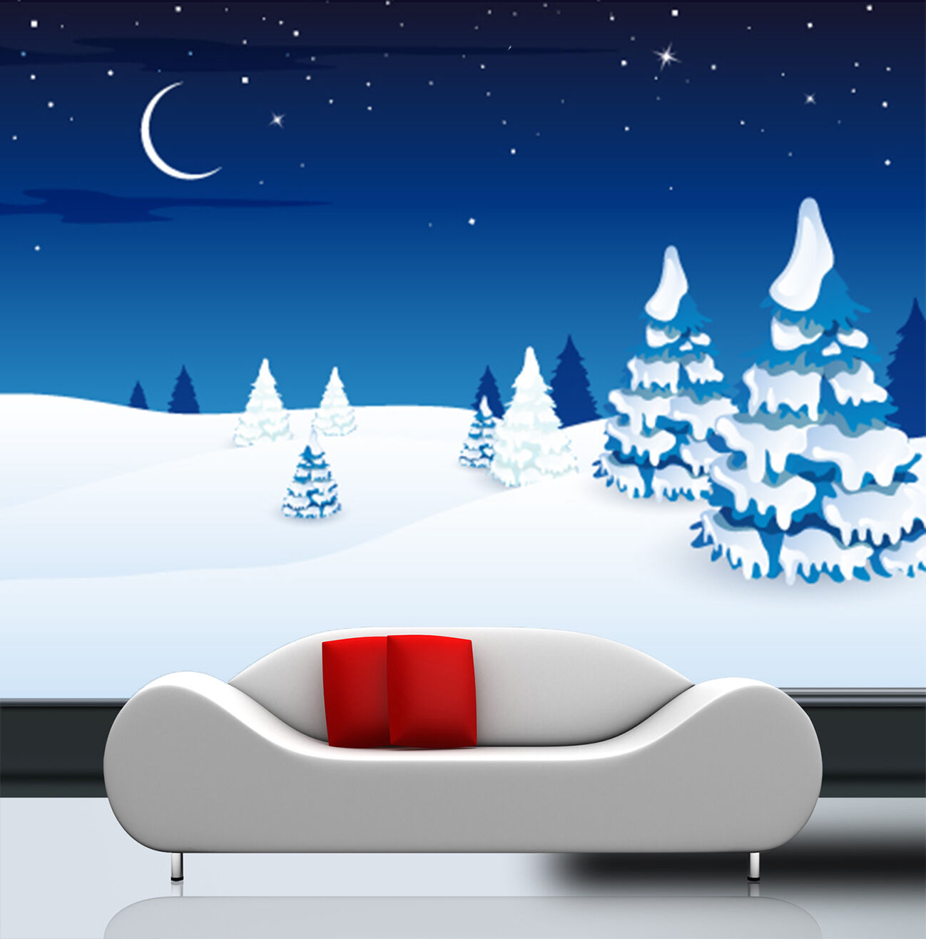 3D Animation snow moon star Wall Paper Print Decal Wall Deco Indoor wall Mural