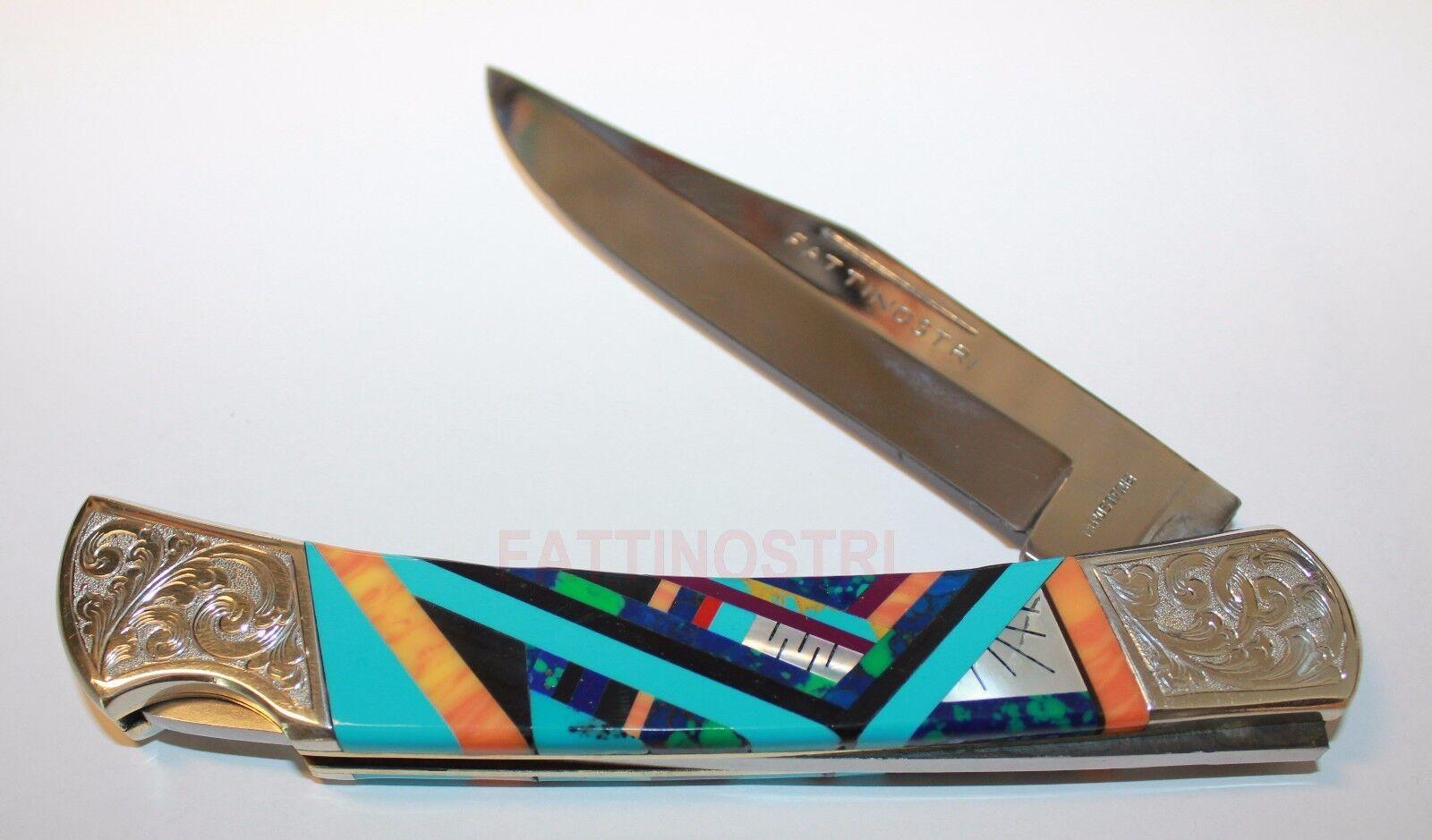 Gioielli INDIANI coltello a serramanico coltello intarsio Turchese Gioielli Gioielli Gioielli Biker 7c1373