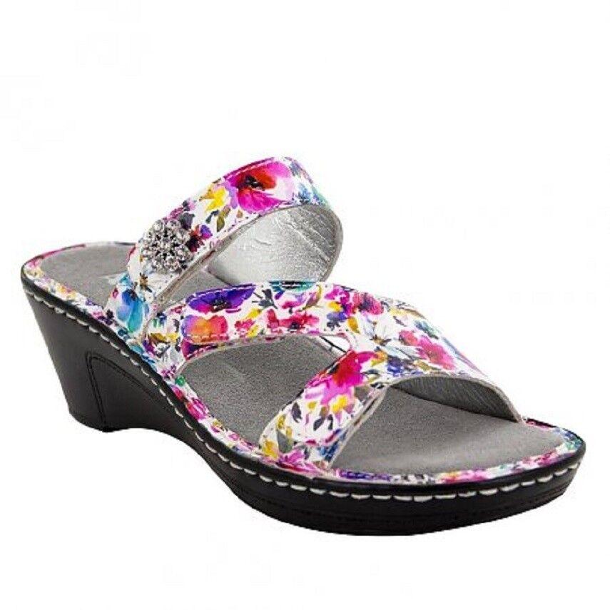 Alegria Alegria Alegria Loti perenne Cuña Sandalias Zapatos 42 EE. UU. 12 cuero Floral Con Joya Nuevo  mejor precio