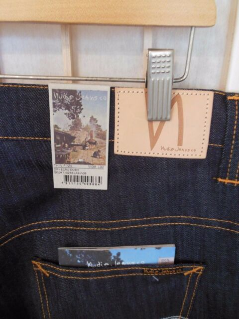 "Men's NUDIE Jeans THIN FINN Dry Ecru Embo 38"" x 32""  NEW"