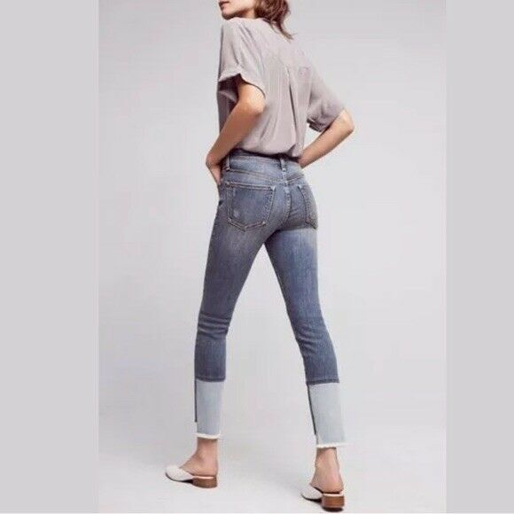 NEW Anthropologie Script High Rise Skinny Jeans High Low Hem By Pilcro Size 27