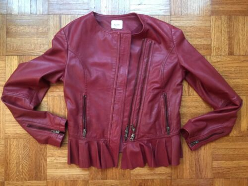 Sz Leather Zip Alysi front Distressed Peplum Creme New Dual red Muted Jacket 42 XFXwPqx6O