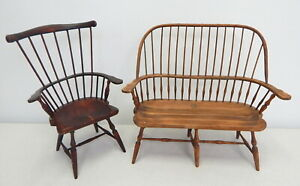 Vintage-handmade-large-wood-doll-furniture-bench-chair-1-6-American-Girl-Scale