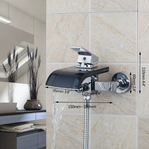 Chrome Bathroom Glass Spray Waterfall Wall Mounted Faucet Mixer Tap Set