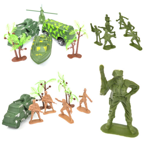 Army Soldier Set with Vehicles Cars Helicopter Multi Bargain Toy Plastic Mini