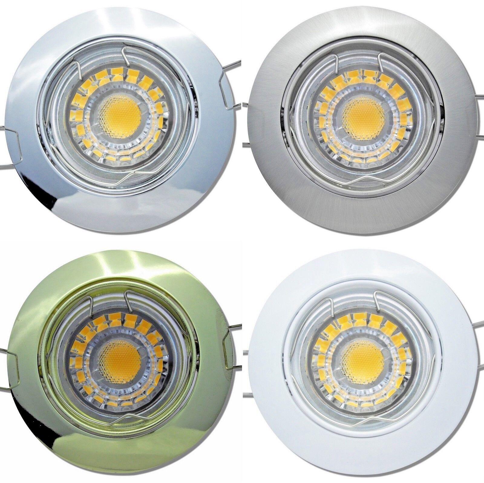 6er Set LED Einbaustrahler Jan 230Volt GU10 Deckeneinbauspots + 5Watt COB LED