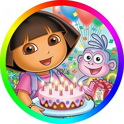Super Dora The Explorer 7 Inch Edible Image Cake Cupcake Toppers Funny Birthday Cards Online Alyptdamsfinfo