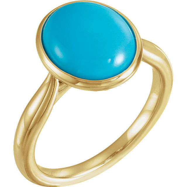 Genuine Turquoise Solitaire Bezel Set Ring In 14K Yellow gold
