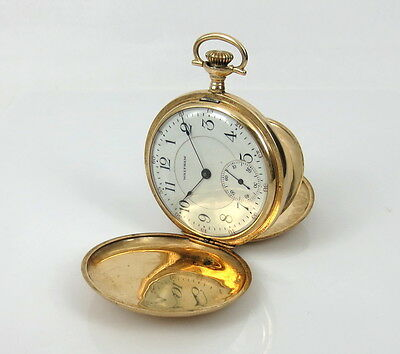 1908's American Waltham 14K Yellow Gold Fancy Hunter Case Pocket Watch