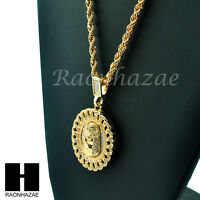 Iced Out Cuban Link Medallion Jesus Face Pendant 24 Rope Chain Necklace Kn030