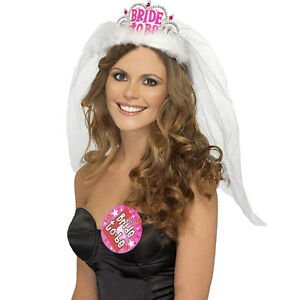 Crown-Tiara-Veil-Lace-Hen-Night-Party-Accessories-Wedding-Bridal-Hot