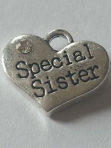 1 o 4 &#034;Especial Hermana&#034; Antiguo Plata Rhinestone corazón Familia Tema encanto  </span>