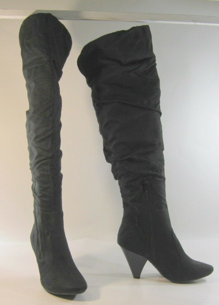 """Black 3.5""""High Heel Round Toe Over  Knee Sexy Boots By Bamboo Size 8.5"""