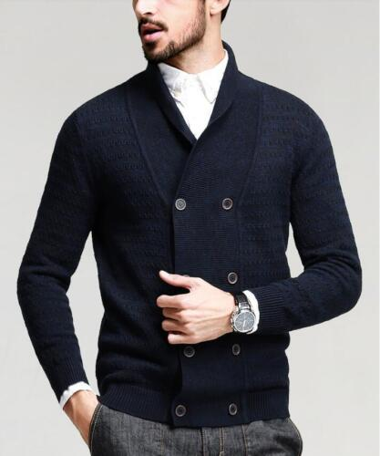 Mode Homme Revers Cardigan chandails tricot Outwear Boutonnage Double Tops Sbox14