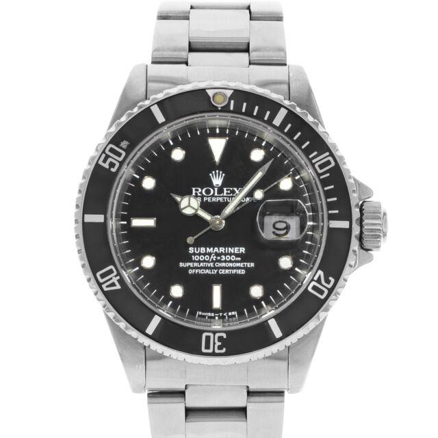 Rolex Submariner 16610 Date 4-Liner Black on Black 1996 Steel Automatic Watch
