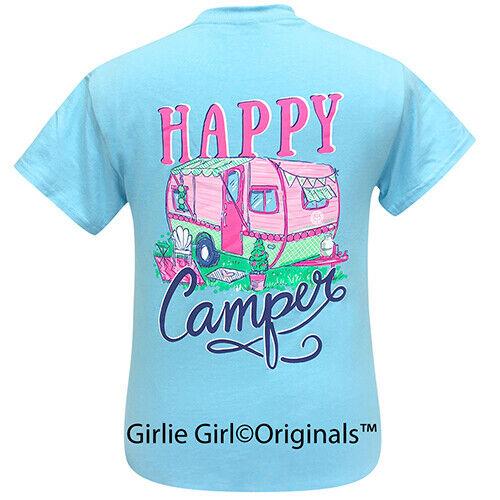 Girlie Girl Originals Tees Happy Camper Sky Blue Short Sleeve T-Shirt - 2258