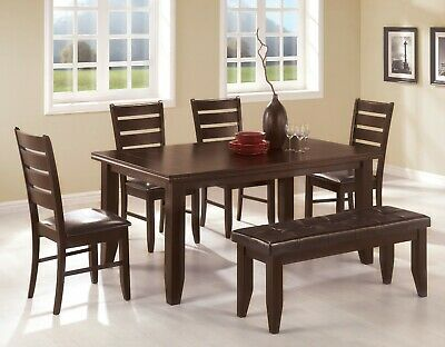 Brilliant Transitional 6 Piece Dining Set Table Chairs Bench Faux Leather Cappuccino Ebay Unemploymentrelief Wooden Chair Designs For Living Room Unemploymentrelieforg