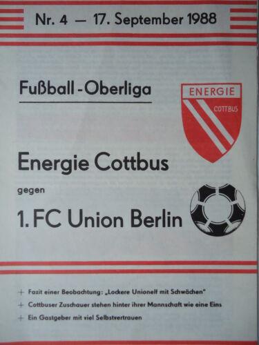 Union Berlin Programm 1988//89 BSG Energie Cottbus