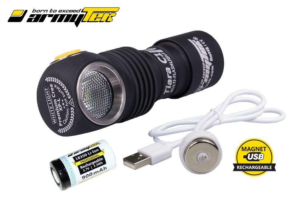 Nuovo Armytek Tiara C1 Pro 980 Magnet USB Cree XP-L 980 Pro Lumens LED Headlight w/18350 fcb0f9