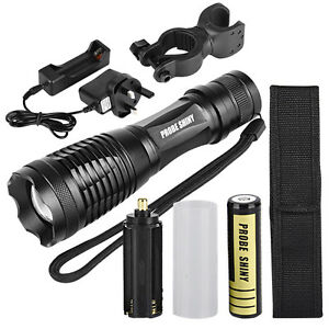 18650 Pouch 5000LM LED Tactical Zoomable Flashlight Torch Light Lamp Charger