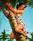 Retro Pinup Girl QUALITY CANVAS PRINT A4 Vintage Poster Gil Elvgren Tree fruit