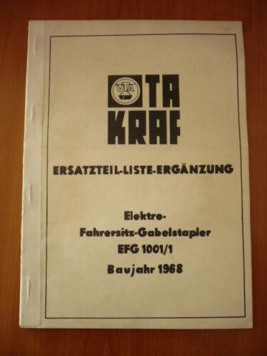 DDR Gabelstapler Ersatzteil Liste Anleitung Takraf Elektro-Stapler EFG 1001//1