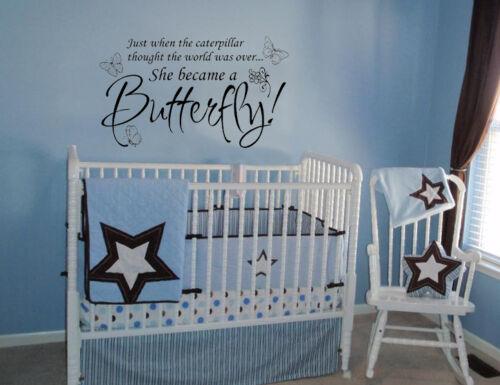Se convirtió en una mariposa Vinilo Pared Calcomanía Adhesivo Decoración hogar letras de pared niñas