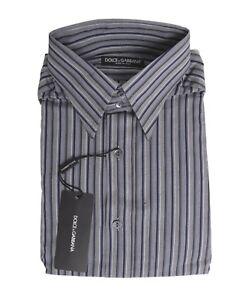 250-Dolce-amp-Gabbana-Italy-Gray-Blue-Mens-Cotton-Dress-Shirt-Size-15-1-2-40