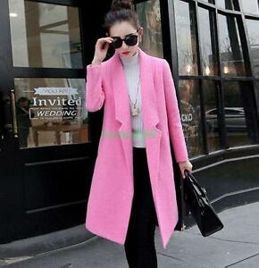 Chic Trench Womens Lined Uld Blend Coat Fit Jacket Fur Slim Long Lapel Winter dRwc5qvR
