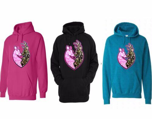 Women Black Hoodie Pink Camo Girls Hunt Too Love Deer Hunting Sweatshirt Hooded