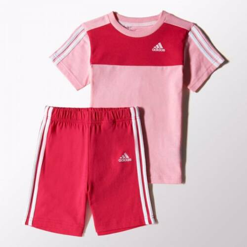 adidas girls baby//infant 3 stripe shorts /& top set Ages 0-4 Years. Summer set