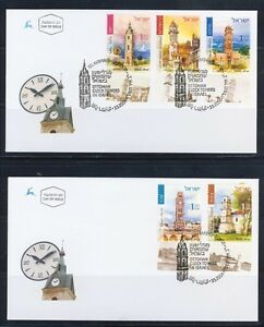 ISRAEL-2004-CLOCK-TOWERS-5-STAMPS-ON-2-FDC-COVER