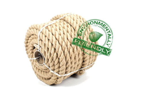 20 Meters Natural Jute Rope 3 Strand Braided Twisted Choice of Diameter 6mm60mm