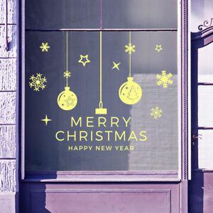 Buon-Natale-Fiocchi-di-Neve-Natale-Palline-Visualizzazione-Finestra-Adesivi-Murali-Adesivi-B10